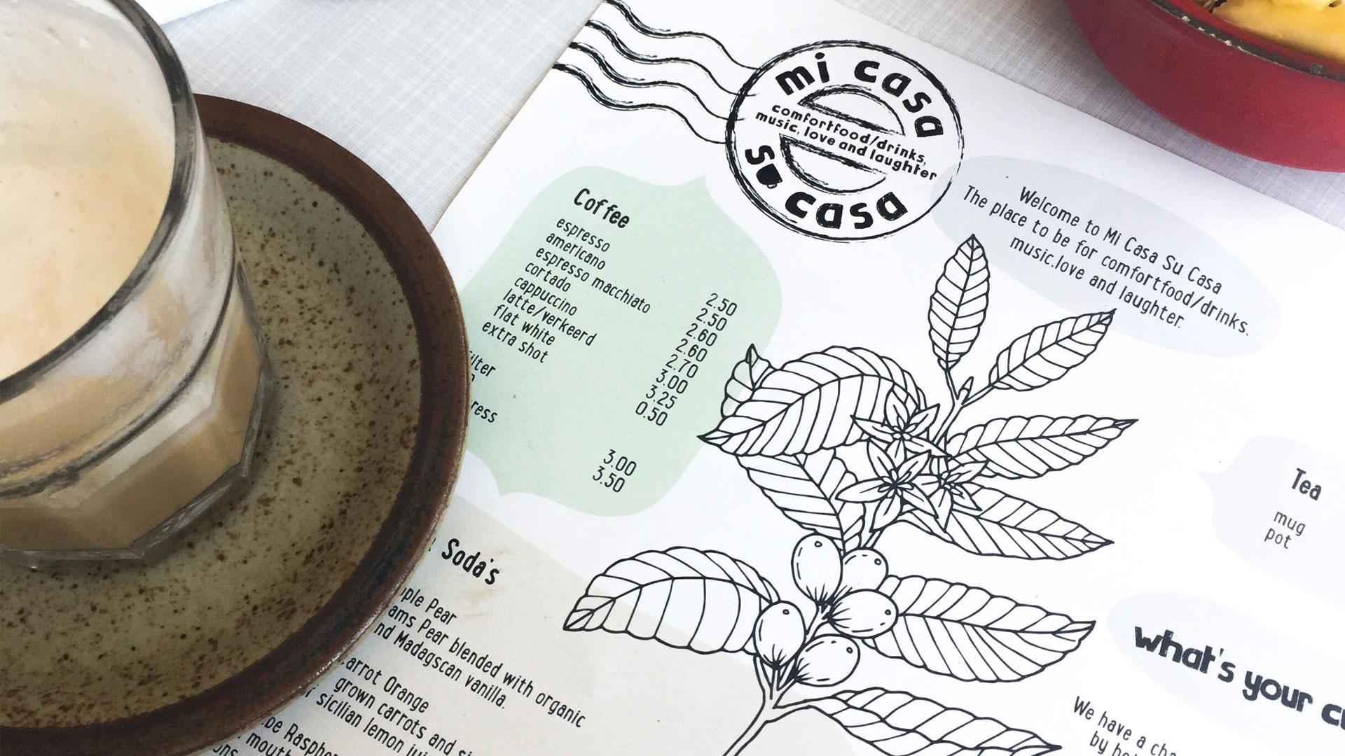 Mi Casa Su Casa - menukaart detail met koffie - Studio Vondst